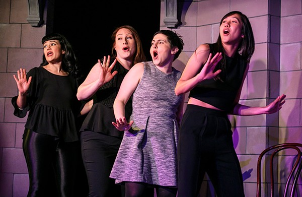"""Sayjal Joshi, Katie Klein, Julie Marchiano, and Tien Tran sing about the word """"moist."""""""