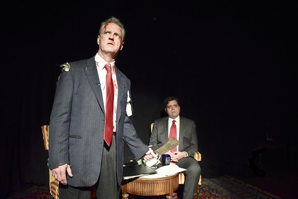 Colm O'Reilly and Brian Shaw in Jim Lehrer and the Theater and Its Double and Jim Lehrer's Double