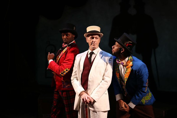Denzel Tsopnang, Larry Yando, and Mark J.P. Hood in Porchlight's The Scottsboro Boys