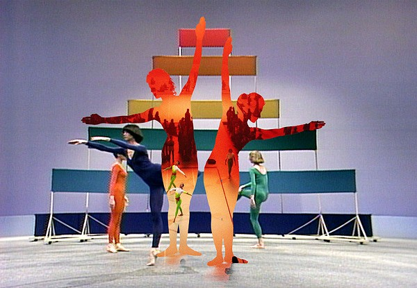 A composite image of Merce Cunningham pieces: (interior) Merce Cunningham Dance Company performing Anniversary Event during the exhibition of Olafur Eliasson's The Weather Project at Tate Modern in London, November 2003; a screen shot of Décor for Scramble (1967) on Event for Television, 1977.