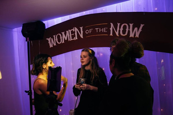 The Women of the Now crew interviewing Stage 18's Kaleigh Herter during their Femme Pyre event in March.