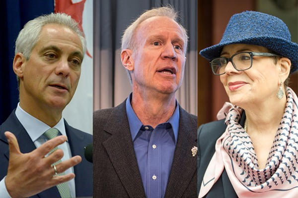 Governor Bruce Rauner is caught between his foes, Mayor Rahm Emanuel and CTU president Karen Lewis.