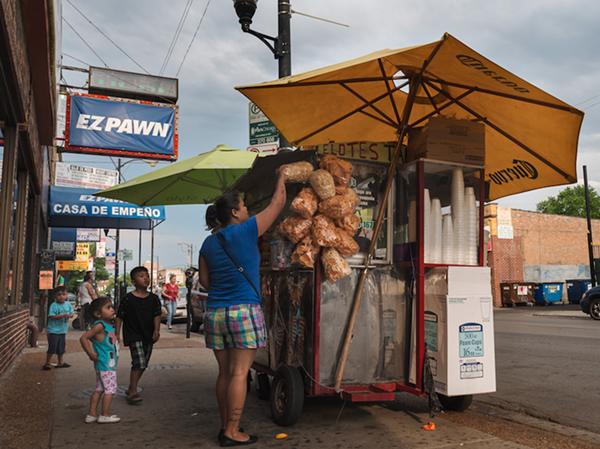 An elote vendor on 26th Street