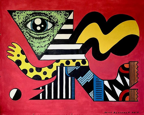 One of the Geometric Giants after which Mac Blackout's exhibition is named, painted on a canvas tarp seven feet across