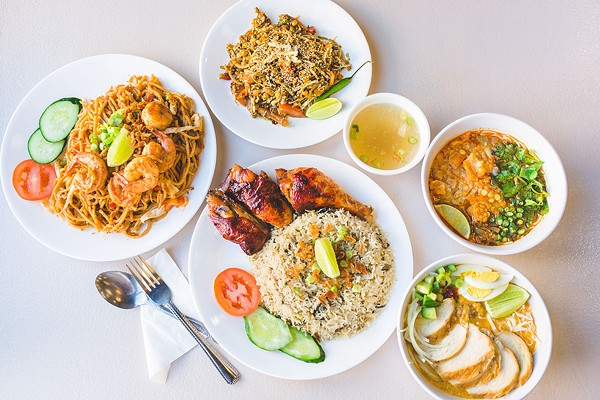Clockwise from left: mee goreng, stir-fried wheat noodles with shrimp; laphet thoke, tea leaf salad; mohinga, fish soup with banana stems, rice vermicelli, and deep-fried soybeans; ohn no khao swe, curried noodle soup with chicken; nasi goreng kampung, village-style fried rice with chicken