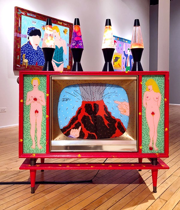 Hot Lava, 1993, 1950s TV with 4 lava lamps, 18 x 40 x 52 in.