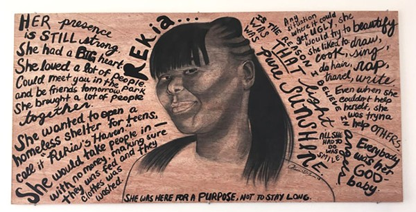 "Aisha Oxley's For Rekia—on display at the Hairpin Arts Center as part of ""Do Not Resist?""—is a tribute to Rekia Boyd, the 22-year-old woman who was fatally shot by Chicago police officer Dante Servin in March 2012."