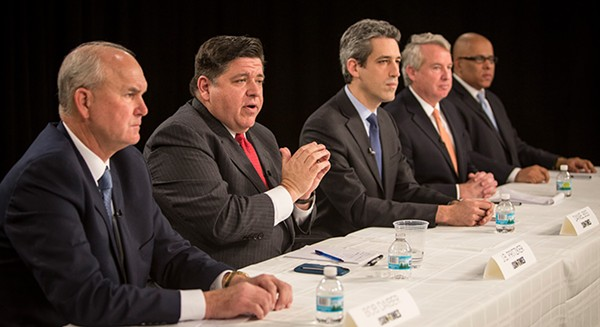 Candidates in the Democratic primary for governor meet with the Sun-Times editorial board. From left: Bob Daiber, J.B. Pritzker, Daniel Biss, Chris Kennedy, Tio Hardiman