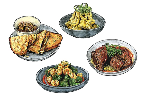 "Clockwise from top left: ""Big Bite"" grilled cheese with beef stew for dipping; double-fried cauliflower; Korean short ribs; crispy rock shrimp with broccoli and cherry-bomb sauce"