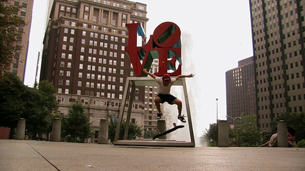 A kickflip in Love Park in Philly, the skate mecca of the U.S.