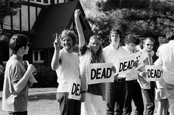 Northwestern students protest the Kent State shootings in May, 1970. (Image added 2018)