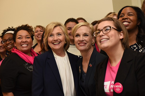 Cecile Richards, center, with Hillary Clinton and Planned Parenthood staff and volunteers