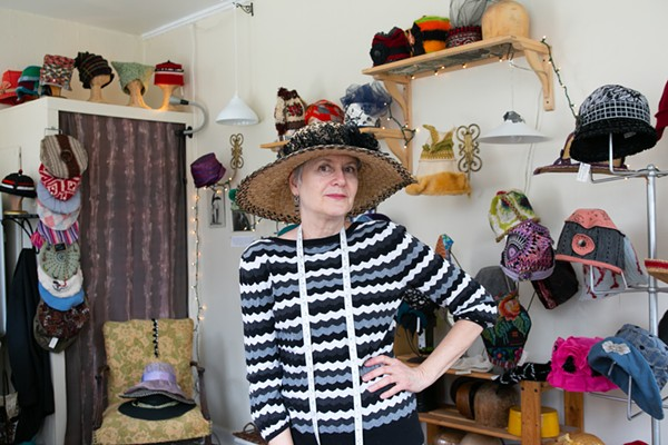 Susan Abelson models one of her Susan Hats.