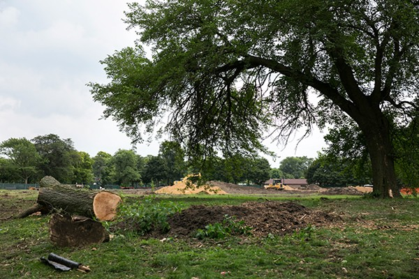 Trees have already been chopped down in Jackson Park to make room for a running track that will replace one displaced by the Obama Presidential Center.