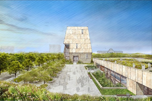 This conceptual drawing released in May 2017 by the Obama Foundation shows the proposed Obama Presidential Center that will be located in Jackson Park on Chicago's south side. This view from the south shows a public plaza that extends into the landscape. The tall structure is the museum.