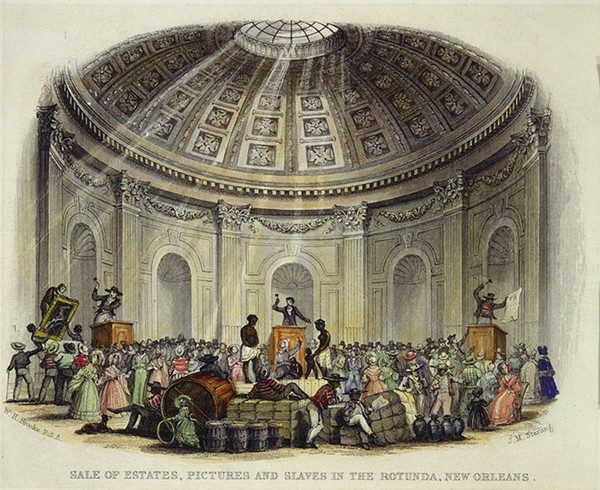 An estate auction at the Saint Louis Hotel in New Orleans; items for sale included artwork, household goods, and slaves