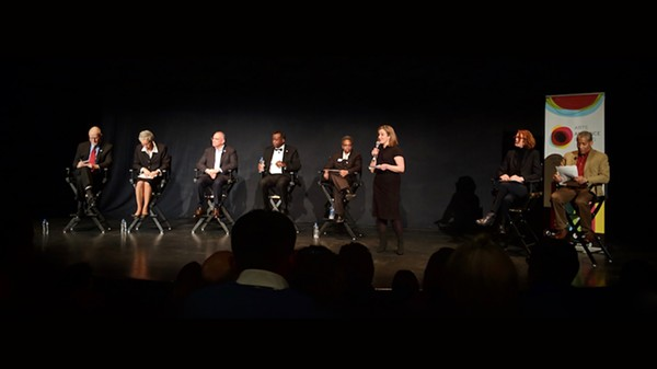 The candidates: Vallas, Preckwinkle, Chico, Wilson, and LIghtfoot; at right are moderators Allison Cuddy and Craig Dellimore