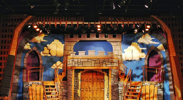 Angela Weber Miller's set for Spamalot at Mercury Theater.