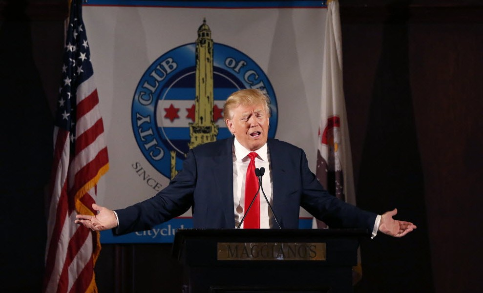 Donald Trump spoke to (or romantically serenaded?) members of City Club of Chicago yesterday. - CHARLES REX ARBOGAST/AP PHOTOS