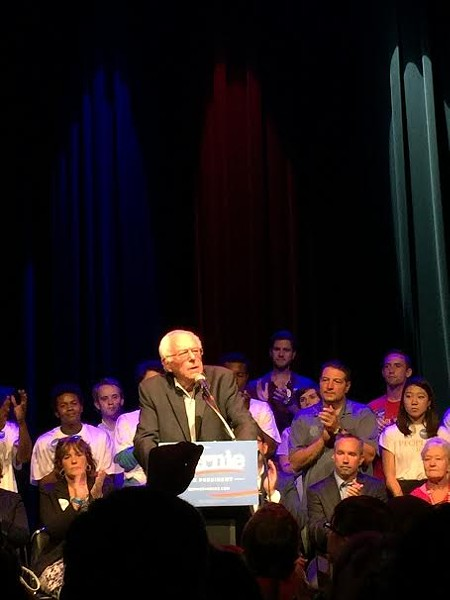 Bernie Sanders at a fund-raising event at Lincoln Park's Park West on Monday - PAUL BIASCO