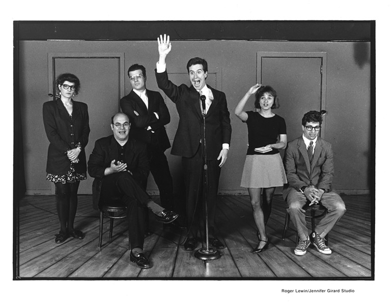 The cast of Second City Northwest's Destiny and How to Avoid It: Nia Vardalos, Ian Gomez, Mitch Rouse, Colbert, Amy Sedaris, and Paul Dinello - COURTESY OF SECOND CITY
