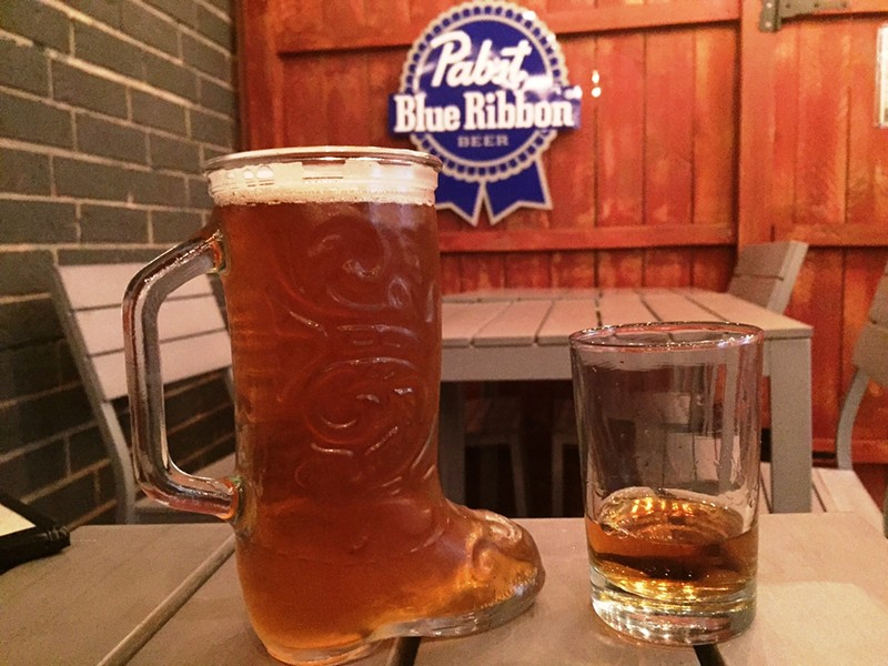 Beer and a shot on the patio - JULIA THIEL
