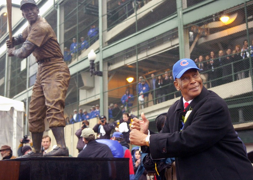 Ernie Banks at Wrigley Field in 2008, when his statue was unveiled - AL PODGORSKI—SUN-TIMES