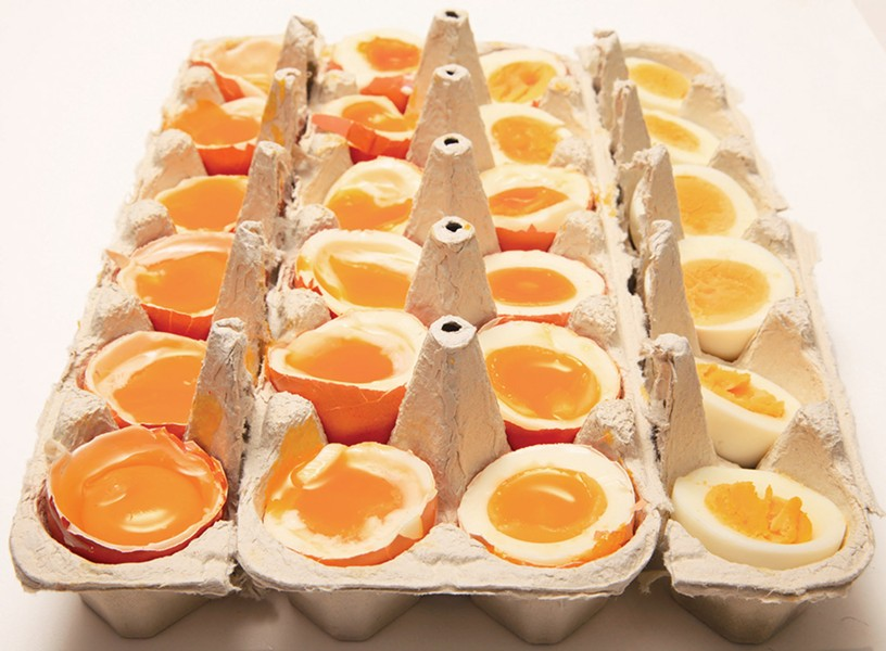 Eggs boiled in increasing 30-second time increments - COURTESY W. W. NORTON & COMPANY