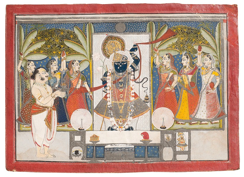 Dauji II Performing Arati on Sharad Purnima depicts an autumn festival scene commemorating Krishna's circle dance with milkmaids under the full moon. - ANUJ AMBALAL/AMIT AMBALAL COLLECTION