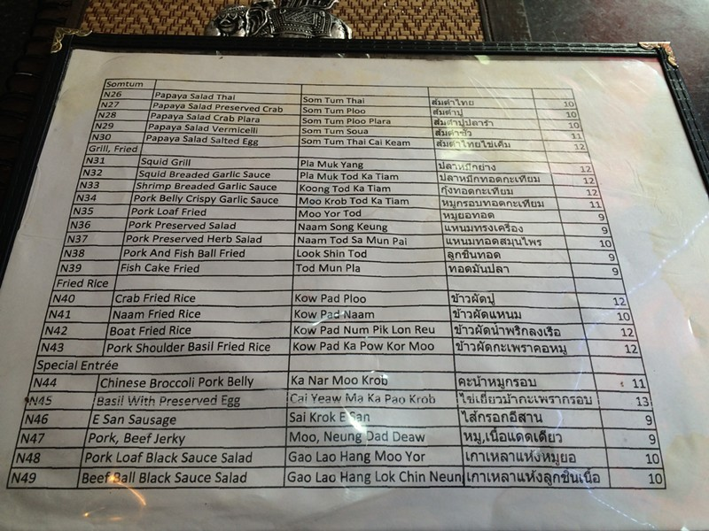 Page two of the late-night menu at Paula's Thai Kitchen - MIKE SULA