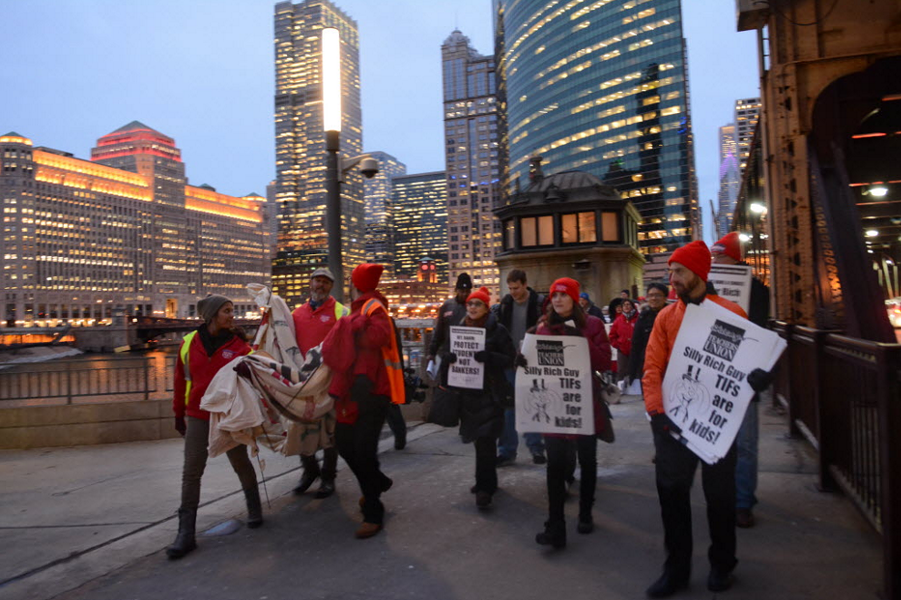 The Chicago Teachers Union last week protested the city's use of TIF funds for development instead of the schools. - BRIAN JACKSON/SUN-TIMES
