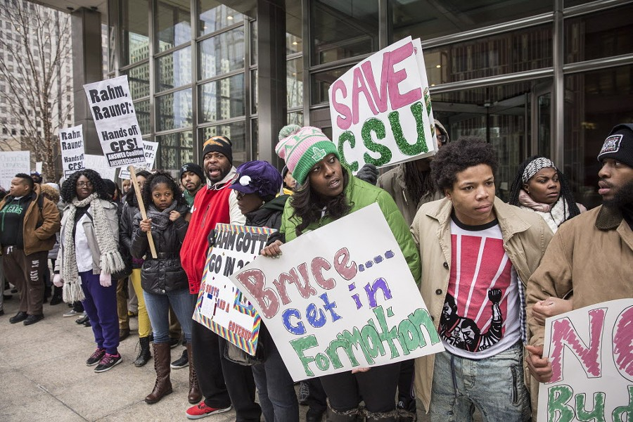 Chicago State University students and supporters demonstrated in the Loop in early February. - RICH HEIN/SUN-TIMES