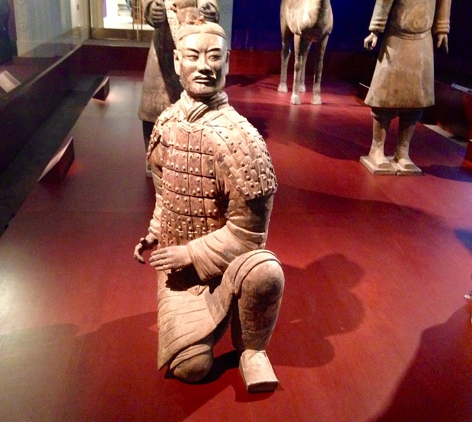 A 2,000-year-old terra-cotta archer that has been reassembled and transported to the Field Museum from Xi'an, China - AIMEE LEVITT