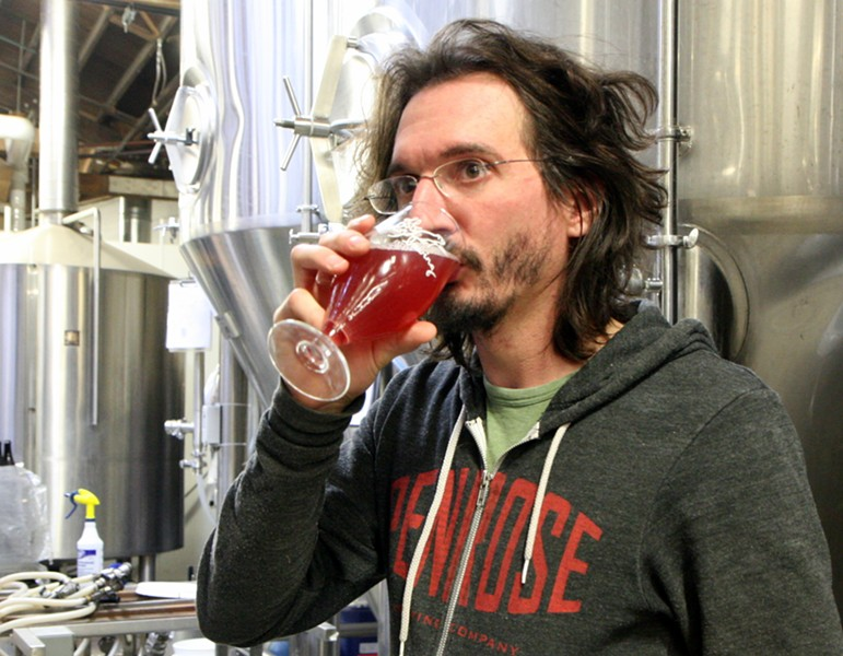 Off Color Brewing's John Laffler drinking Wari Ale - JULIA THIEL