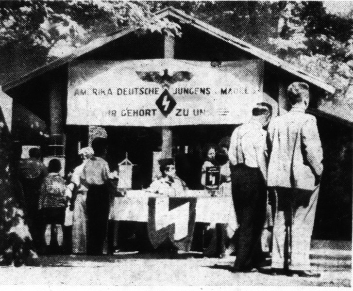 A Bund recruiting tent on display during the June 18, 1939, rally - CHICAGO DAILY TIMES