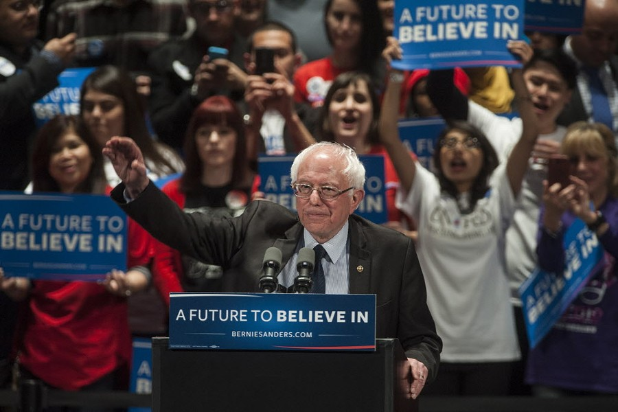 Bernie Sanders at his rally at the Auditorium Theatre Monday night - ASHLEE REZIN/SUN-TIMES