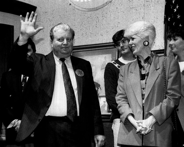 Chicago police commander Jon Burge waves to supporters at a 1992 benefit to raise money for his legal fees. - RICH CHAPMAN