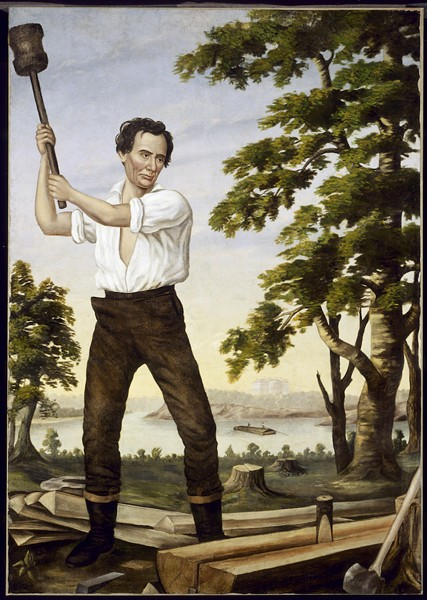The Railsplitter, 1860. Republicans displayed this painting at campaign rallies. The White House looms in the distance. - COURTESY CHICAGO HISTORY MUSEUM