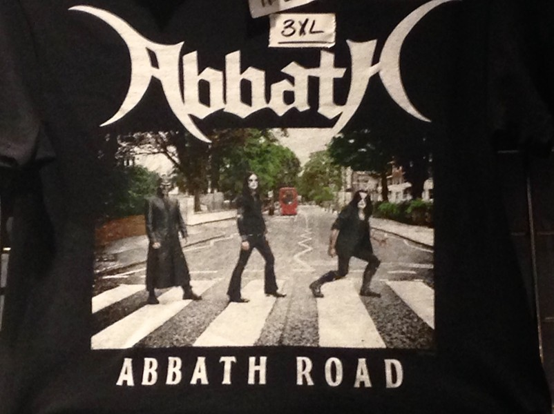 How seriously does Abbath take himself? Well, here's a crappy phone pic I shot of a T-shirt for sale on this tour. - PHILIP MONTORO