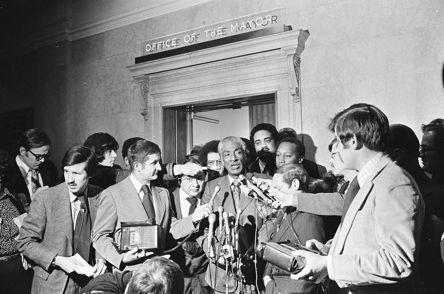 Congressman Ralph Metcalfe talks to reporters at City Hall in 1972. The findings of his panel on police misconduct are eerily similar to the findings of today's police accountability task force. - SUN-TIMES