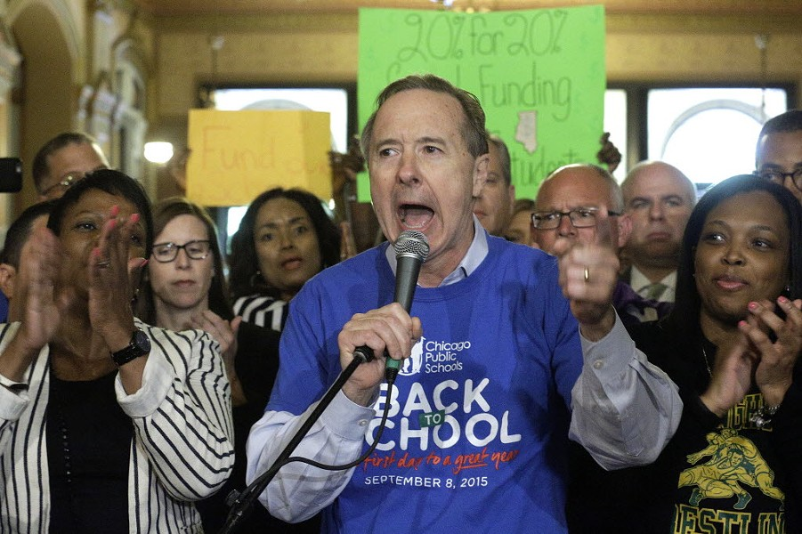 Chicago Public Schools CEO Forrest Claypool speaks during a rally for education funding in Springfield. - AP PHOTO/SETH PERLMAN