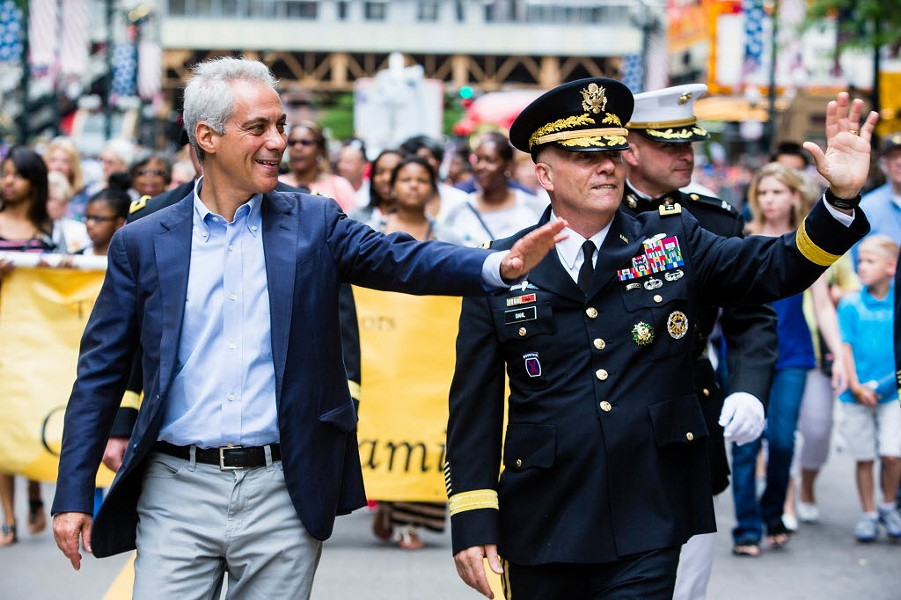 Mayor Rahm Emanuel and army lieutenant general Kenneth R. Dahl march in Chicago's Memorial Day Parade. - JAMES FOSTER/FOR THE SUN-TIMES
