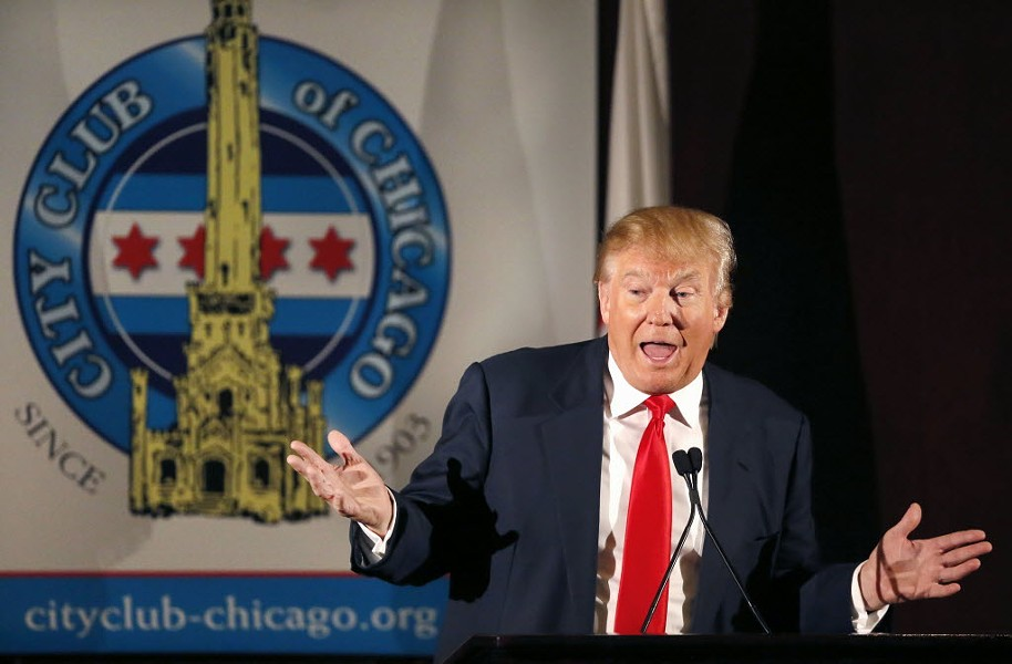 Presumptive Republican presidential nominee Donald Trump speaks to members of the City Club of Chicago in 2015. - AP PHOTO/CHARLES REX ARBOGAST, FILE