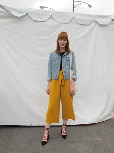 Breanna looks both polished and festival-ready. Her square, blocky heels are happening this season.