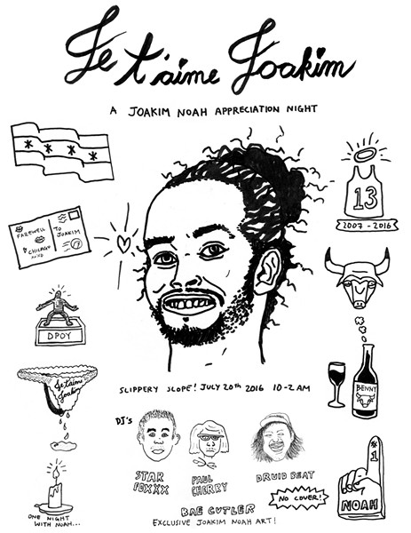 The flyer for the Joakim Noah Appreciation Night