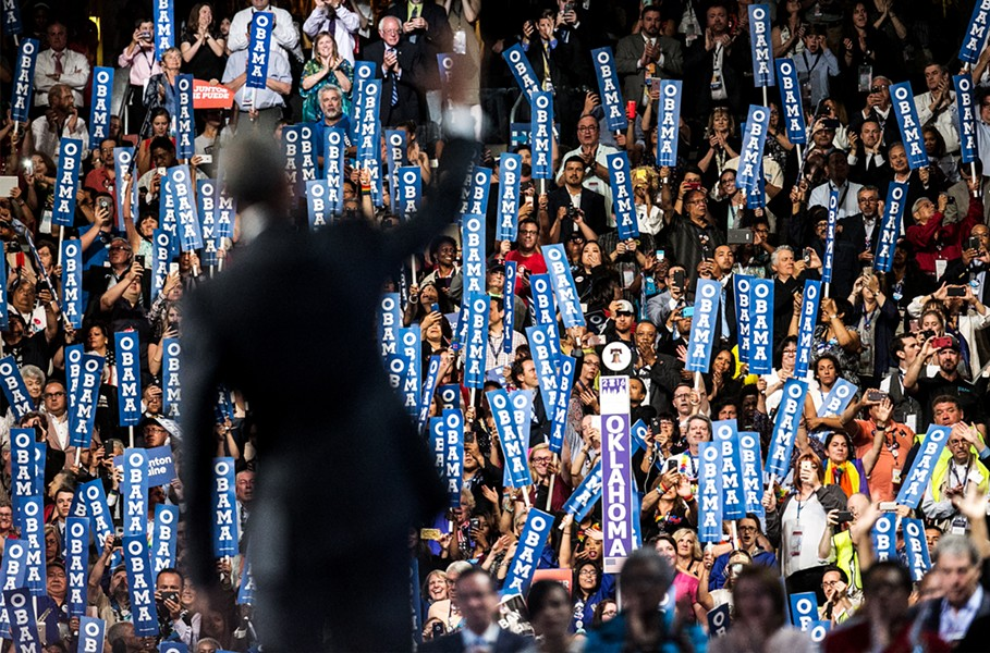 President Barack Obama at the Democratic National Convention Wednesday night - SEAN SIMMERS VIA AP
