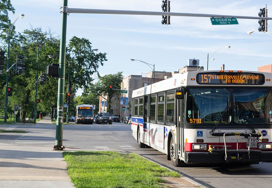 The southwestbound Ogden Avenue bus route stops at California. - APRIL ALONSO