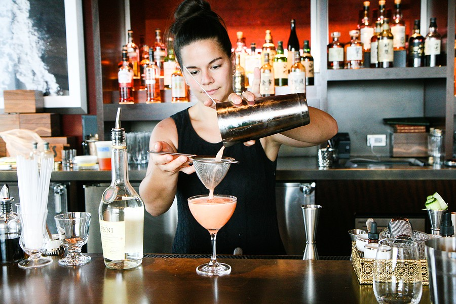 Julia Momose makes the feni cocktail she's planning to put on the fall menu at Annex. - JULIA THIEL