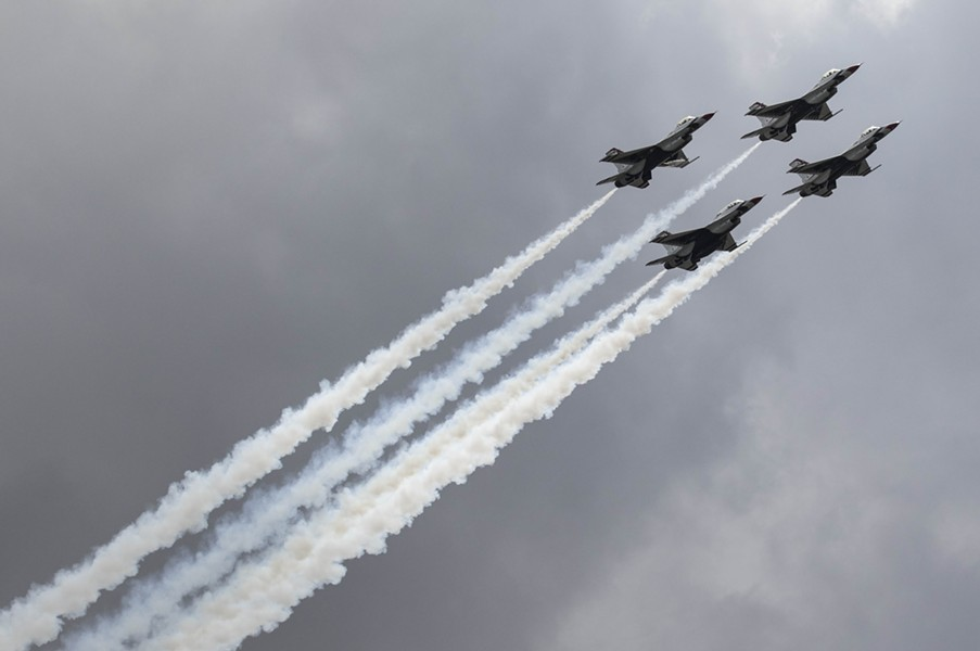U.S. Air Force Thunderbirds flying over North Avenue Beach during the 58th annual Chicago Air & Water Show Saturday - LOU FOGLIA/SUN-TIMES
