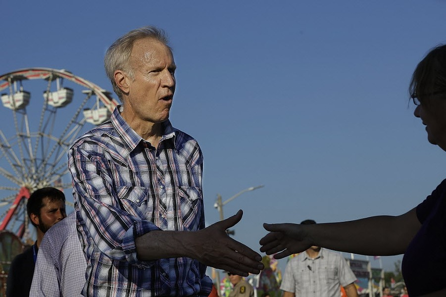 Governor Bruce Rauner at the Illinois State Fair - AP PHOTO/SETH PERLMAN